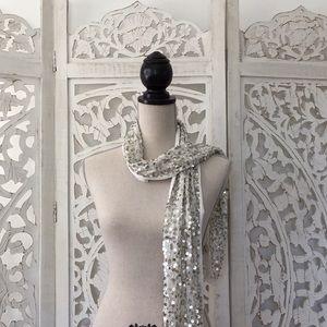 Silver sequin scarf